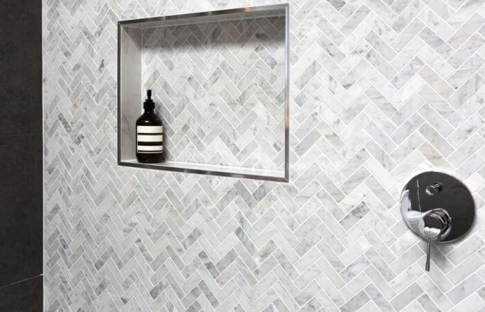 a shower niche shelf