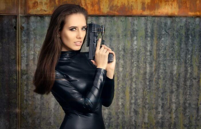 bond girl leather suit