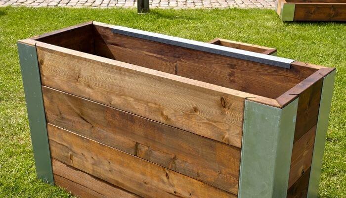 empty wooden planter