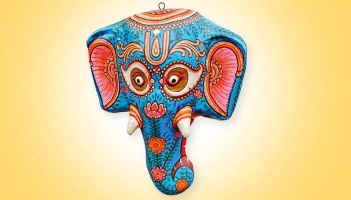 paper mache elephant face