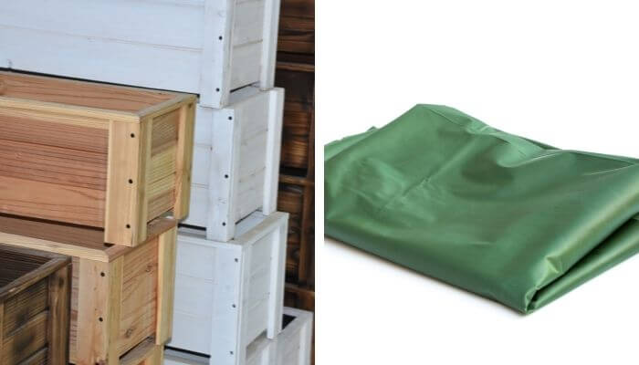 waterproof your wooden planter with a plastic lining